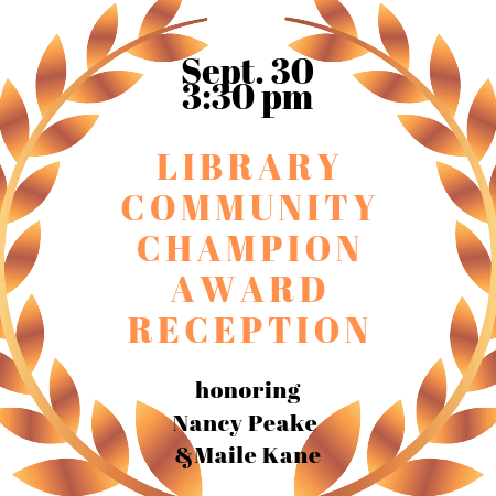 Library Champion Ceremony graphic