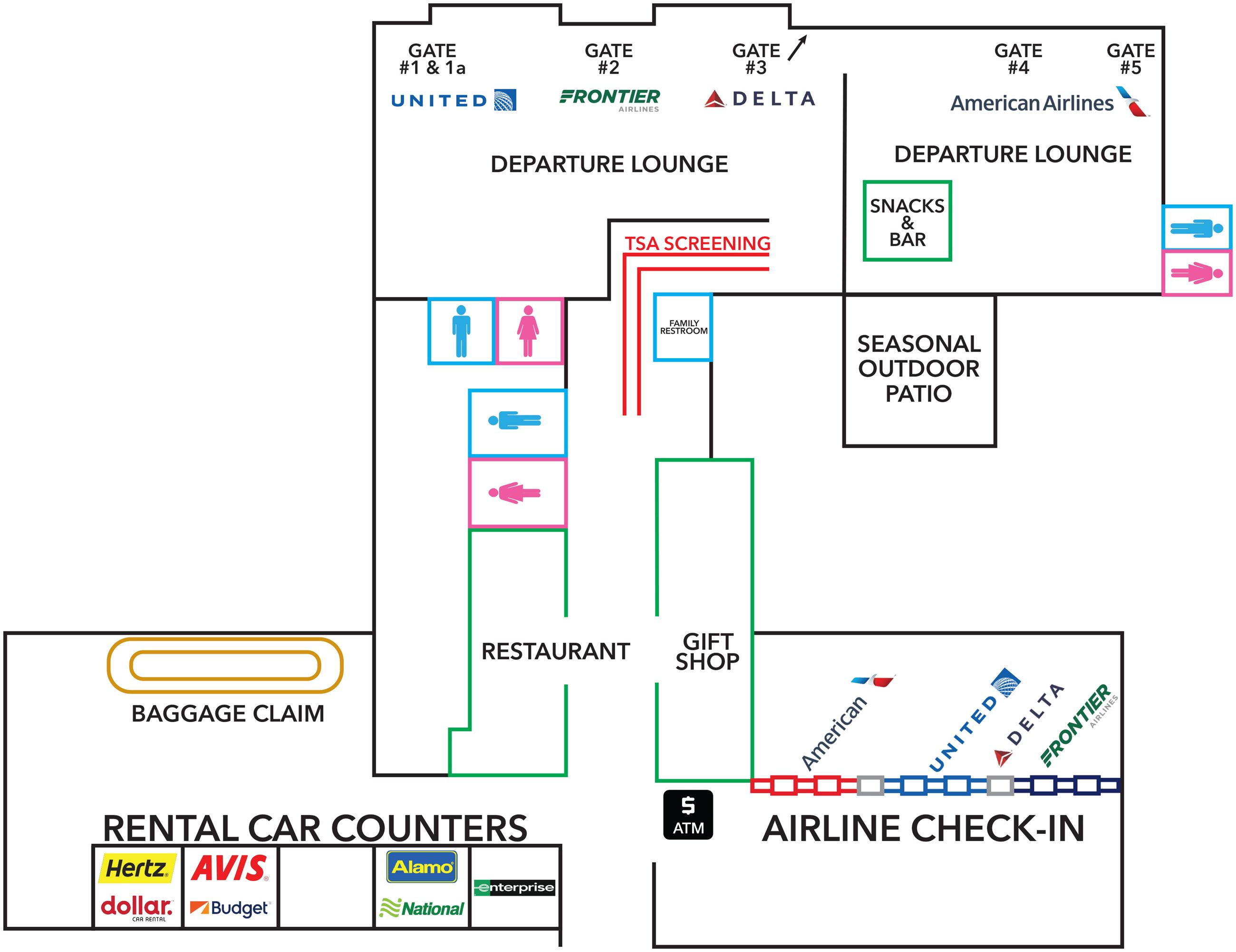 Durango - La Plata County Airport diagram of terminal map updated 2019